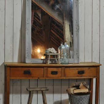 Large Old Pine Hallway Console Table With Three Drawers
