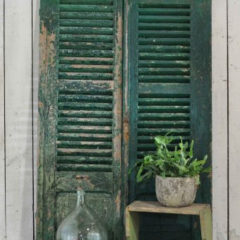 Pair of Vintage Rustic Green Shutters With Original Distressed Paintwork