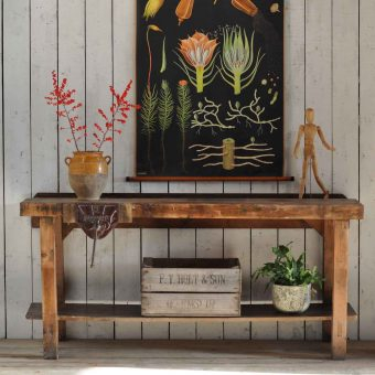Solid Pine Vintage Console Table Work Bench Featuring Vice