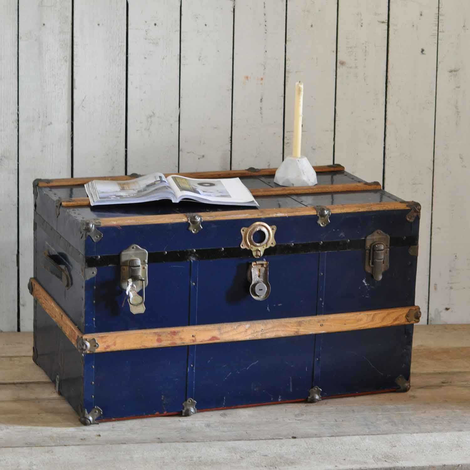 Vintage Steamer Shipping Trunk In Dark Navy Home Barn