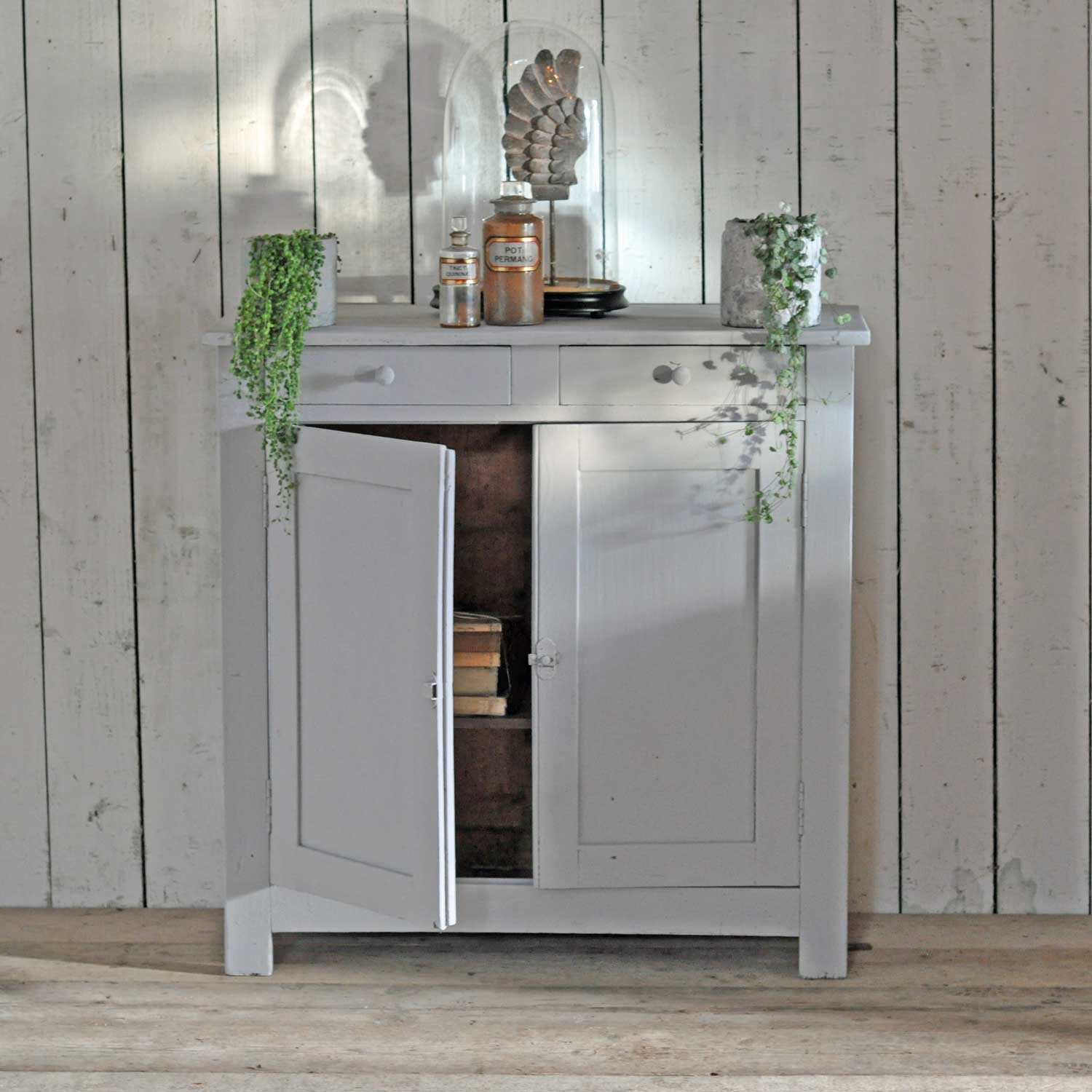 Vintage Two Door Amp Drawer Cabinet With Hand Painted Pale Grey Paintwork