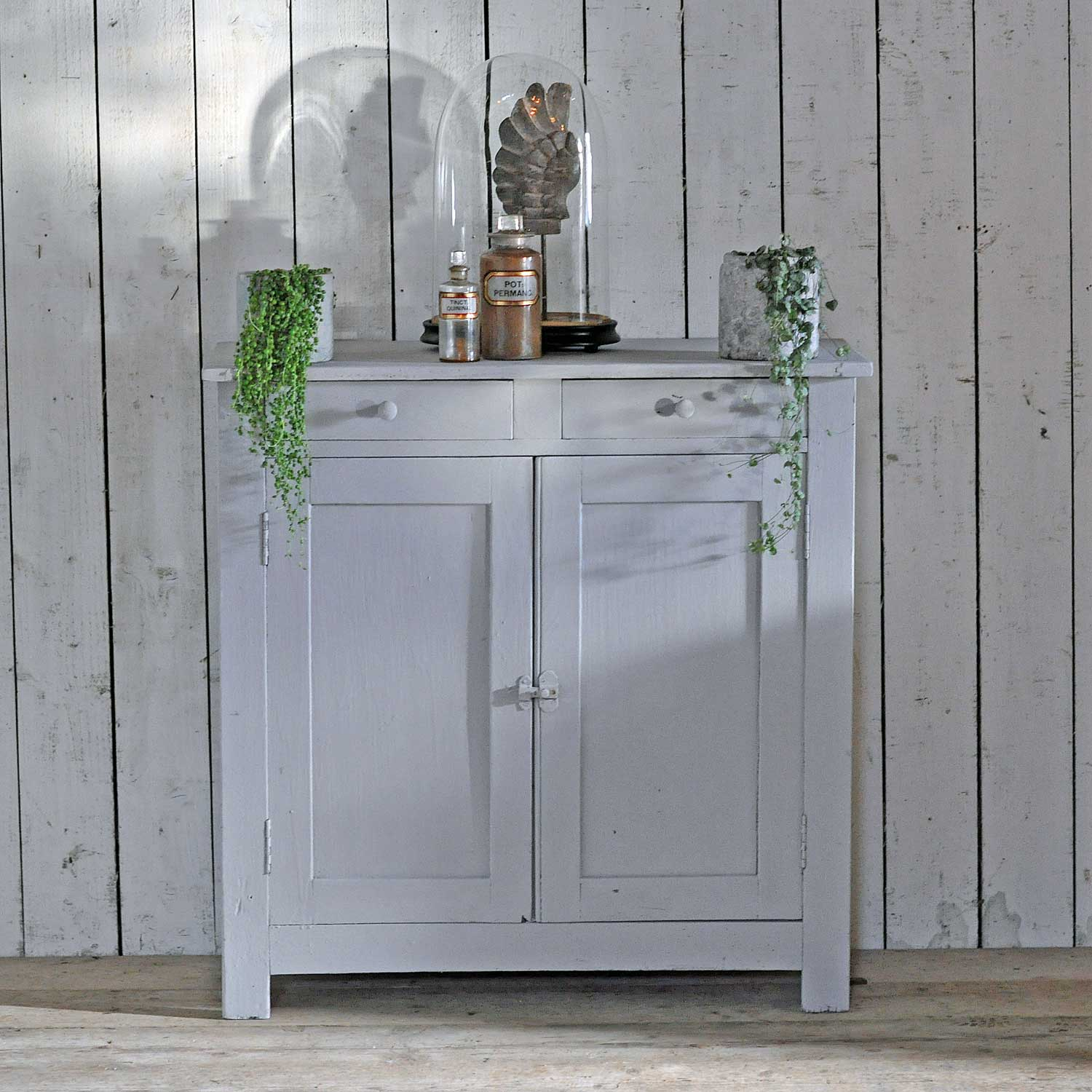 Vintage Two Door & Drawer Cabinet With Hand Painted Pale ...
