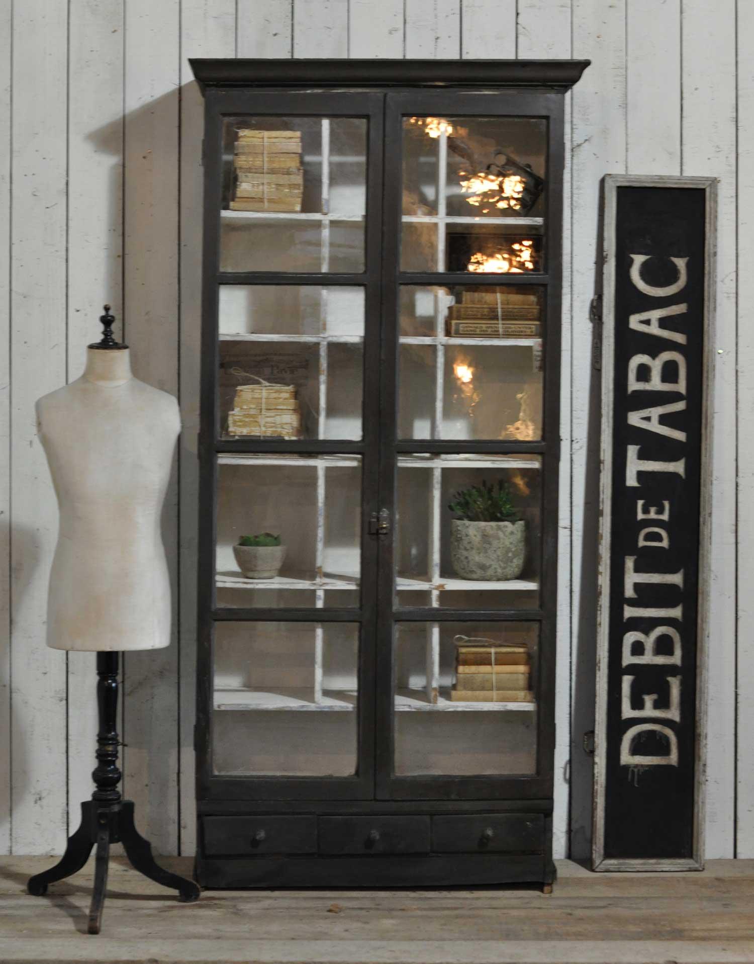 Vintage Two Door Glazed Vitrine Display Cabinet