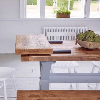 Reclaimed timber dining table extension leaf