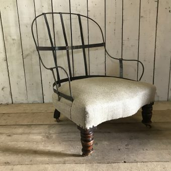 Antique Armchair With Tall Cast Iron Back
