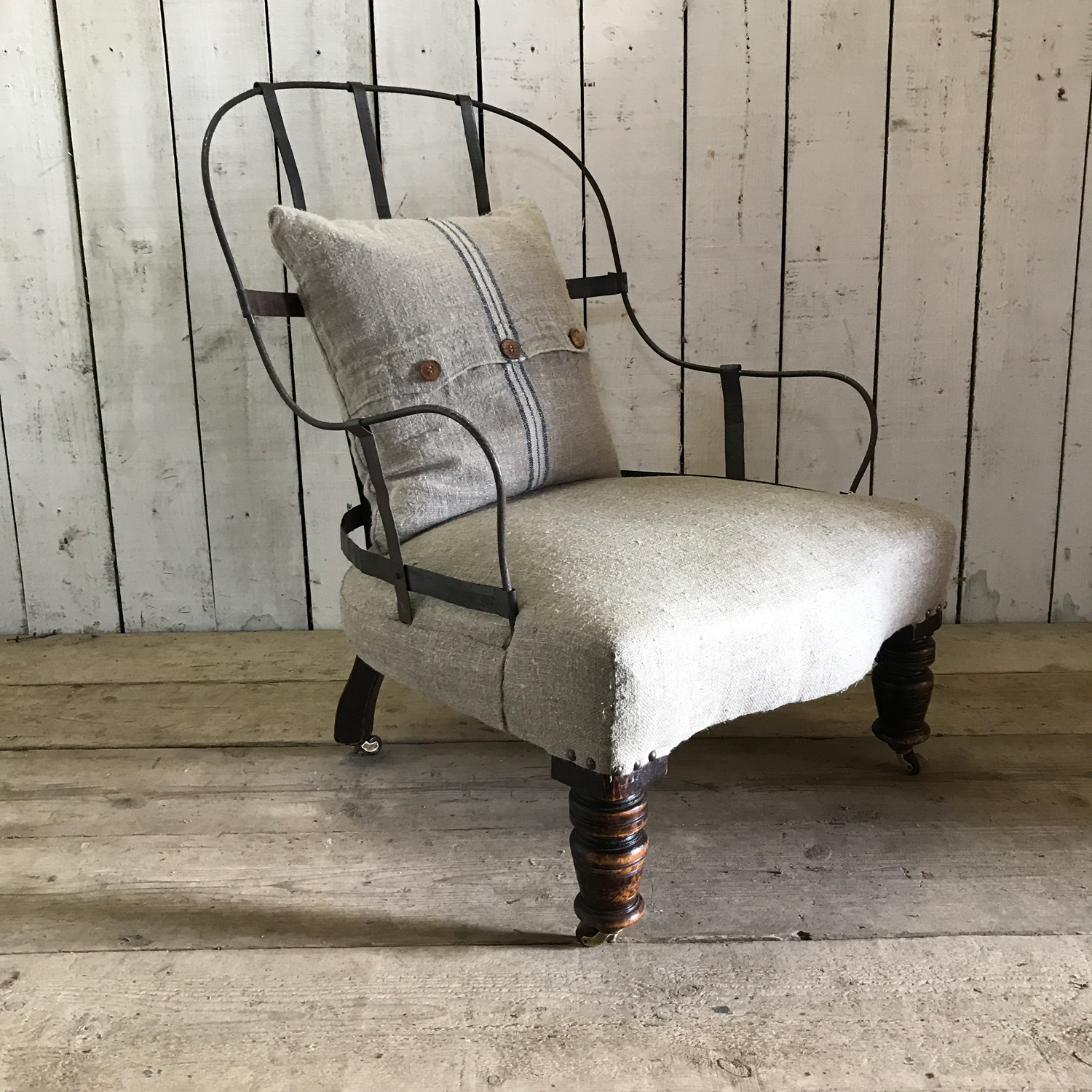 Reclaimed Armchair: Deconstructed Antique Armchair With Cast Iron Back