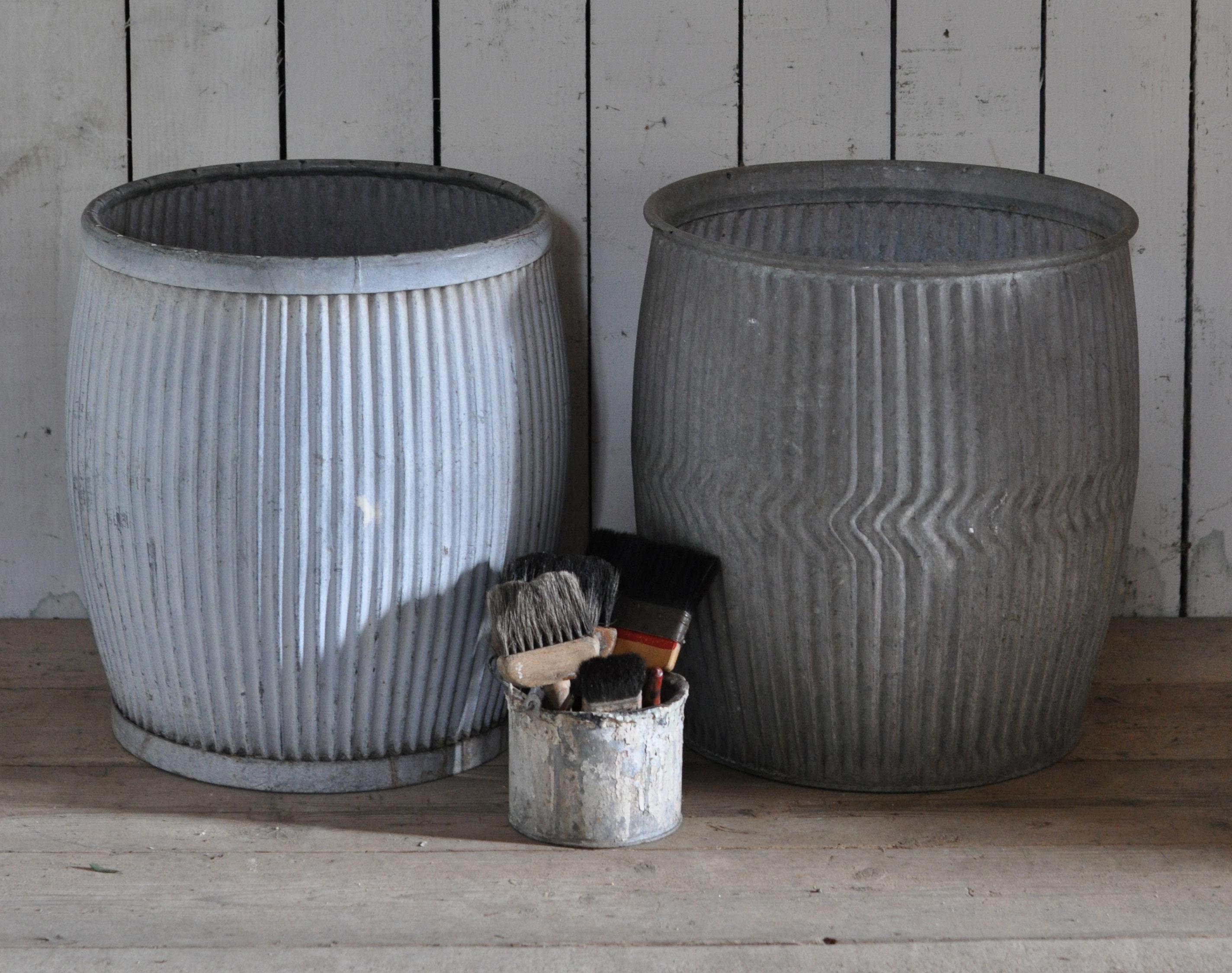 Galvanised Antique Wash Tub Zinc Dolly Planter Home Barn