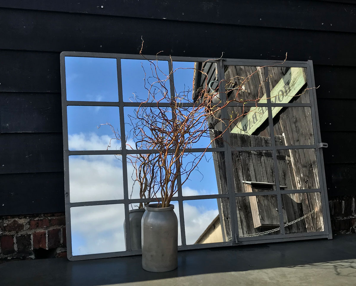 Industrial Antique Cast Iron Architectural Window Mirror