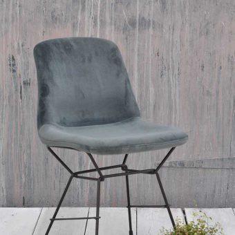 Luxury Velvet Upholstered Dining Chair In Gray