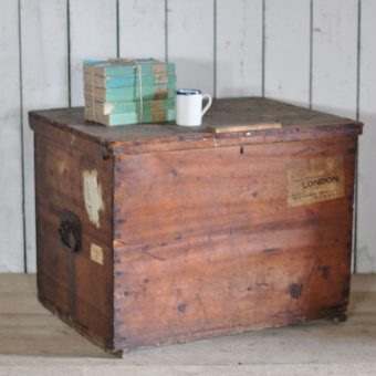 Military Blanket Box Trunk Chest Antique Rustic Pine