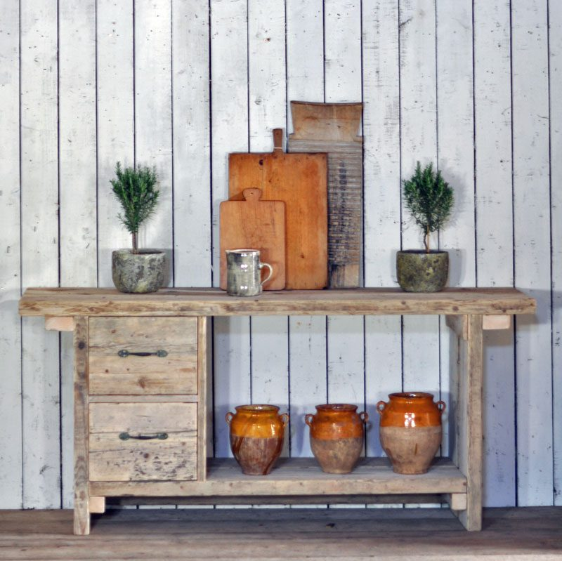 reclaimed timber rustic two drawer console island