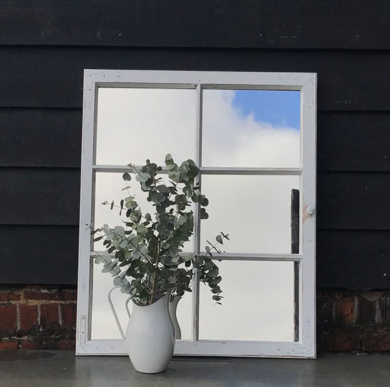Vintage Timber Architectural Window Mirror Six Panes