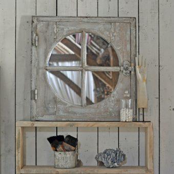 Round Oak Framed Antique Architectural Window Mirror