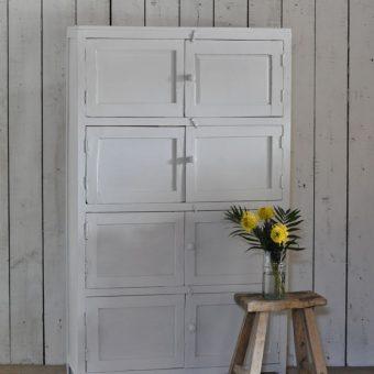 Vintage Industrial Timber Locker Cabinet Storage Unit