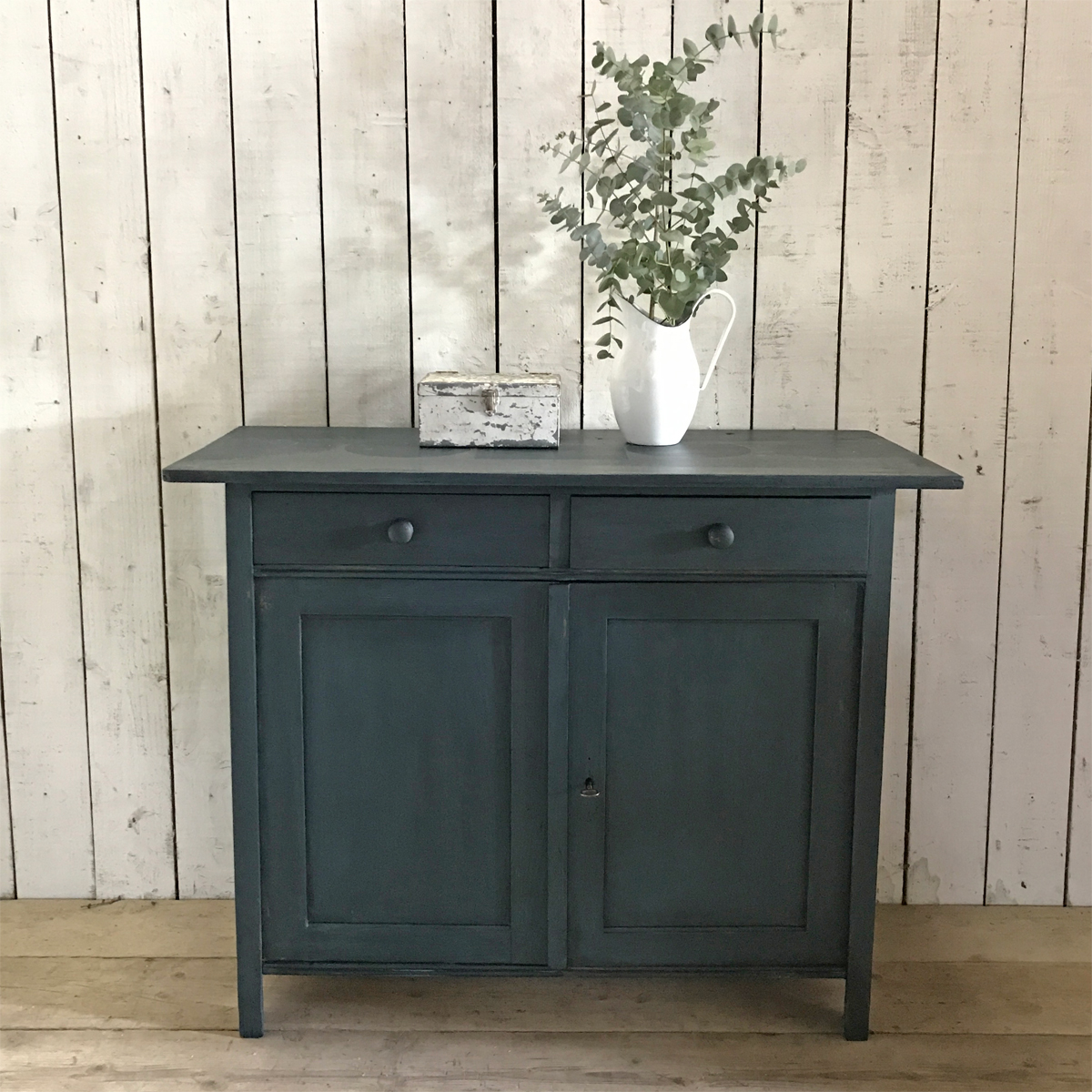 Vintage Pine Two Door Cabinet With Deep Blue Paintwork Home Barn