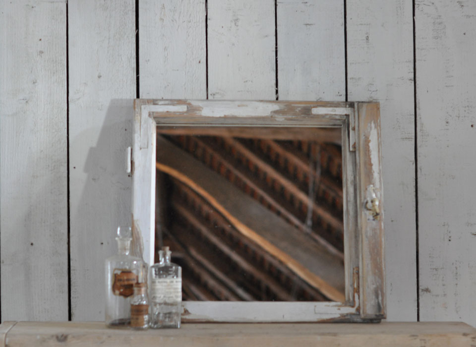 Vintage Timber Architectural Window Mirror Single Square Pane