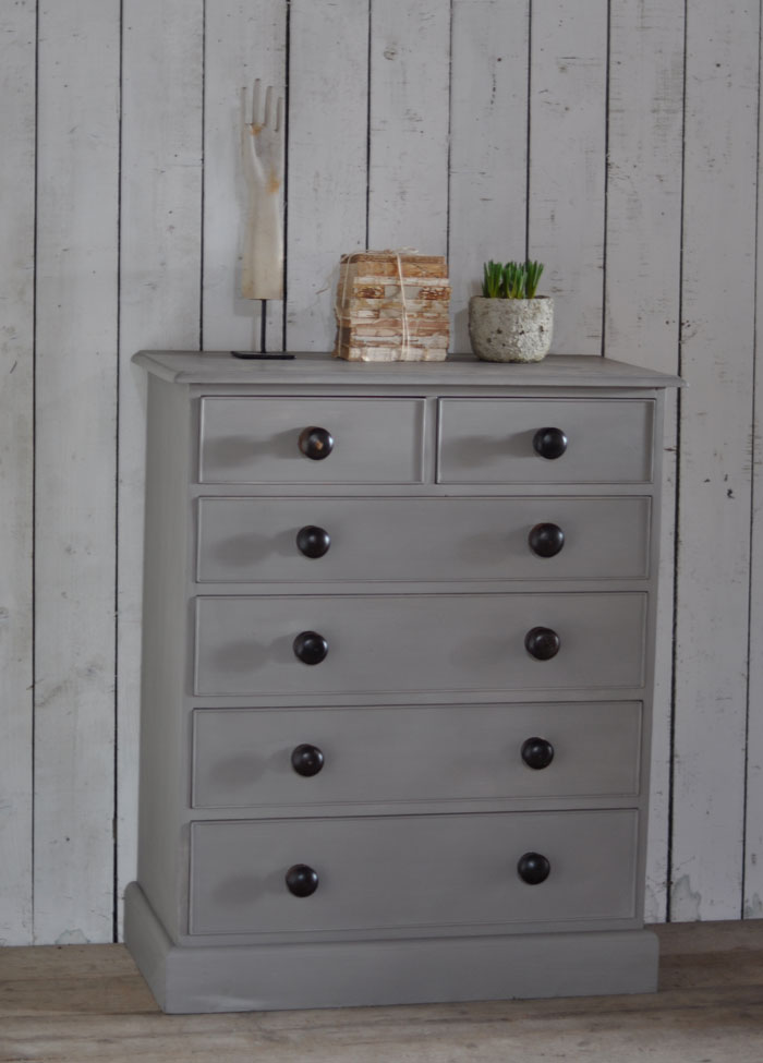 Vintage Hand Painted Chest Of Six Drawers Home Barn Vintage