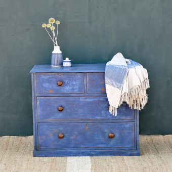 Antique Hand Painted Blue Victorian Chest Of Drawers