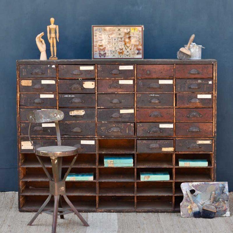 Antique Primitive Rustic Hardware Shop Drawers
