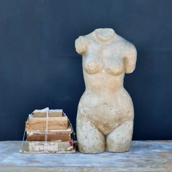 Beautifully aged and painted french torso with a study of a nude woman