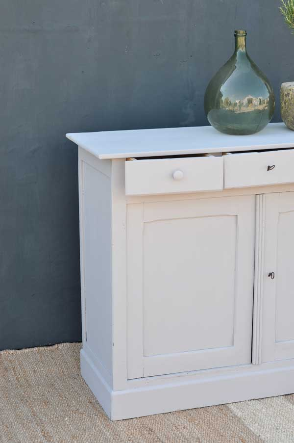 Hand Painted Three Drawer Two Door Vintage Cabinet Home