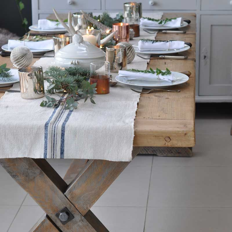 Blue Stripe Vintage Linen Table Runner