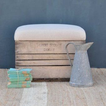 Champagne Crate Bench with Linen Upholstered seat