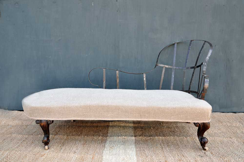 Deconstructed Antique Upholstered Chaise Lounge Home