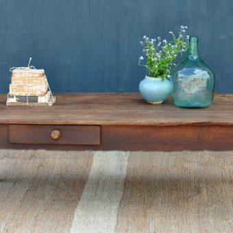 Large Dark Timber Vintage Coffee Table With Drawer