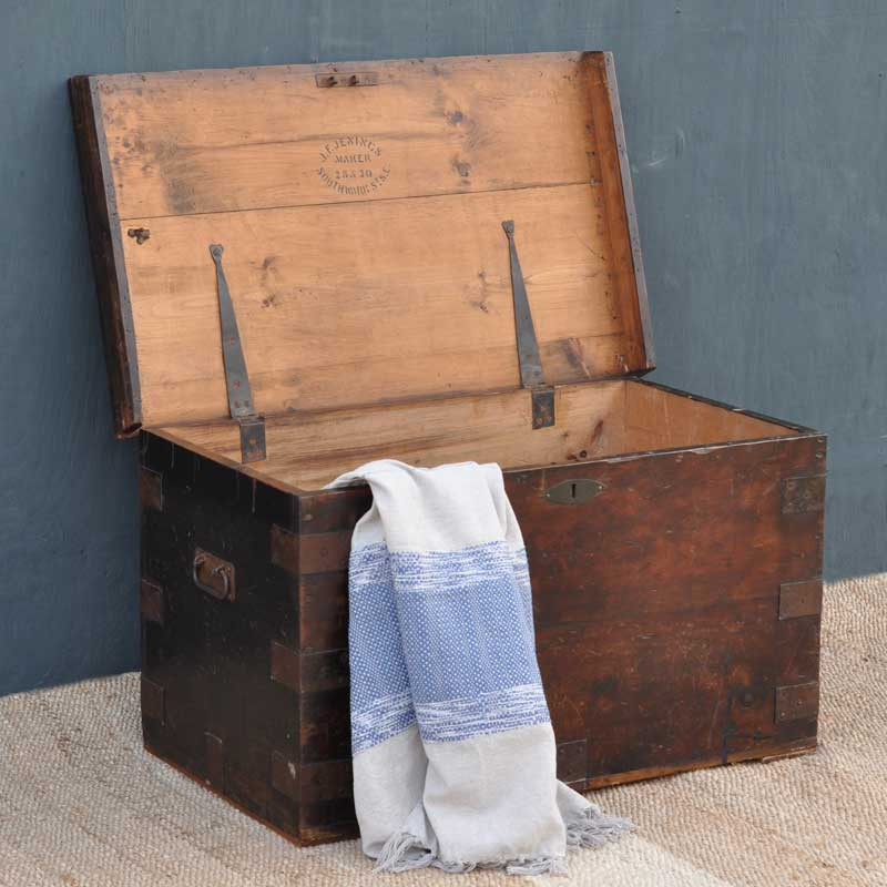 Pine Antique Blanket Box Linen Chest Coffee Table Home