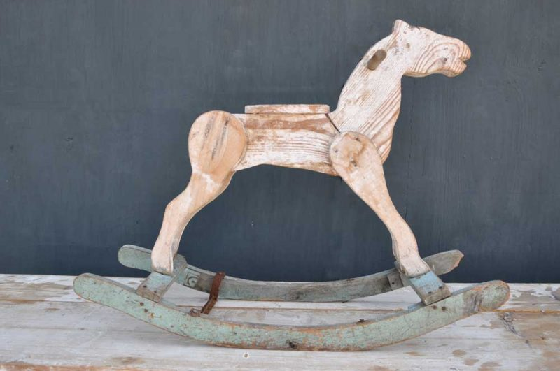 Primitive Folk Art Antique Wooden French Rocking Horse