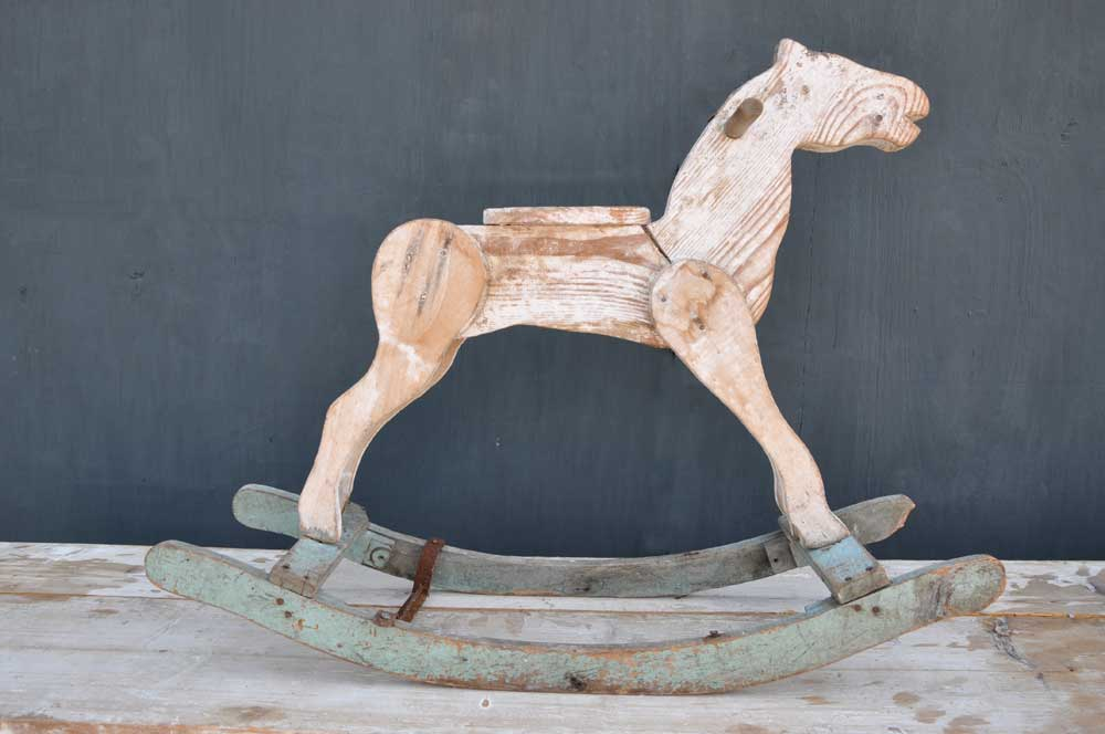 Primitive Folk Art Antique Wooden French Rocking Horse