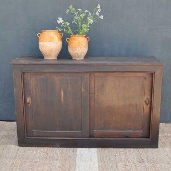 Sliding Door Dark Wood Antique Cupboard