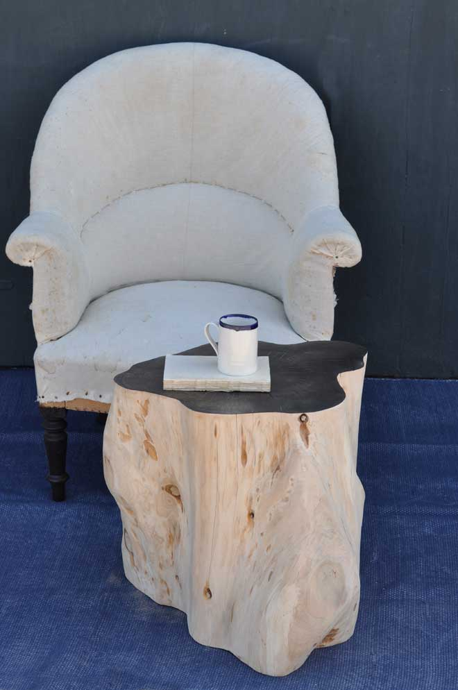 Tree Trunk Side Table in Bleached Natural Timber