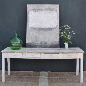 Vintage Long Reclaimed Top Console With Four Drawers