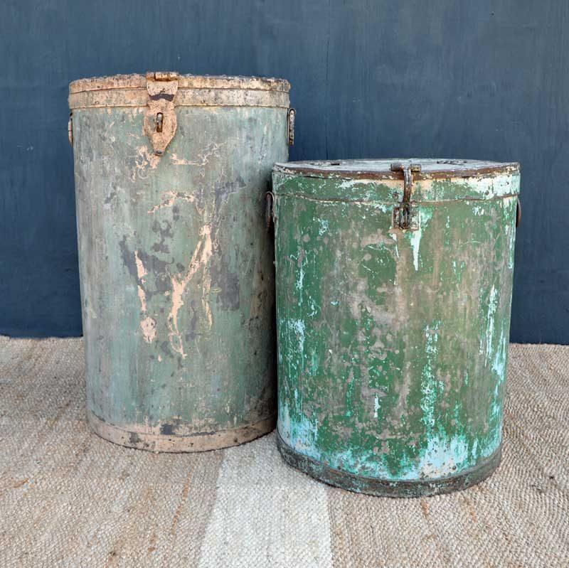 Vintage Rustic Metal Canister Drum Planter Side Table