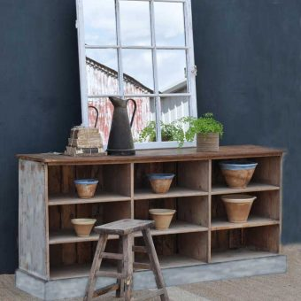 Vintage Shop Counter Kitchen Island Pigeonhole Cabinet