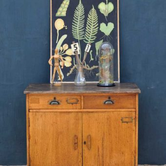Vintage University Studio Oak Cabinet With Two Drawers