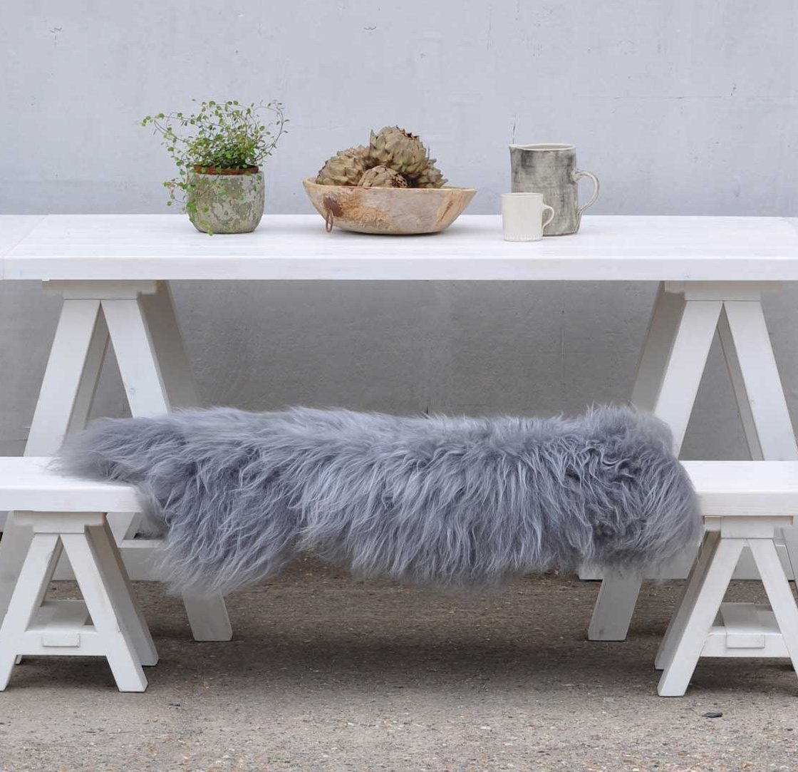 outdoors Scandinavian Inspired White Wash Trestle Table