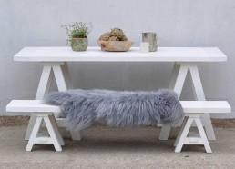 outdoors Scandinavian Inspired White Wash Trestle Table