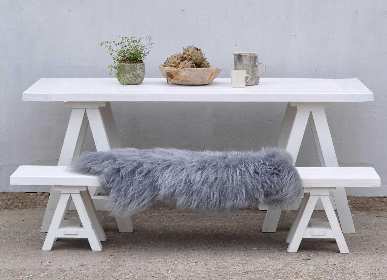 Scandinavian Inspired White Wash Trestle Table