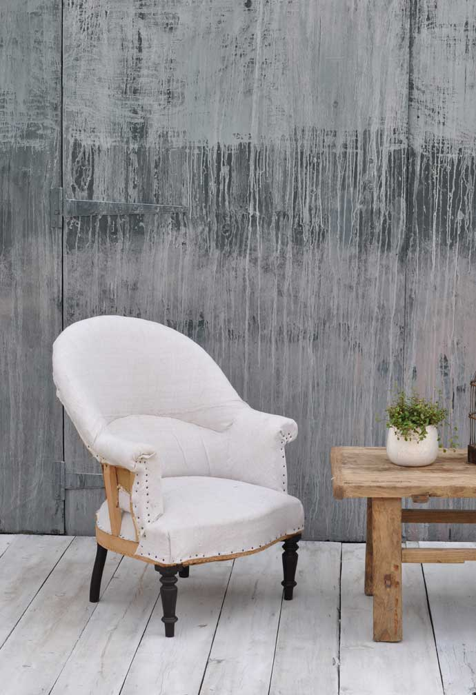 Antique Deconstructed French Chair Upholstered In Vintage Linen