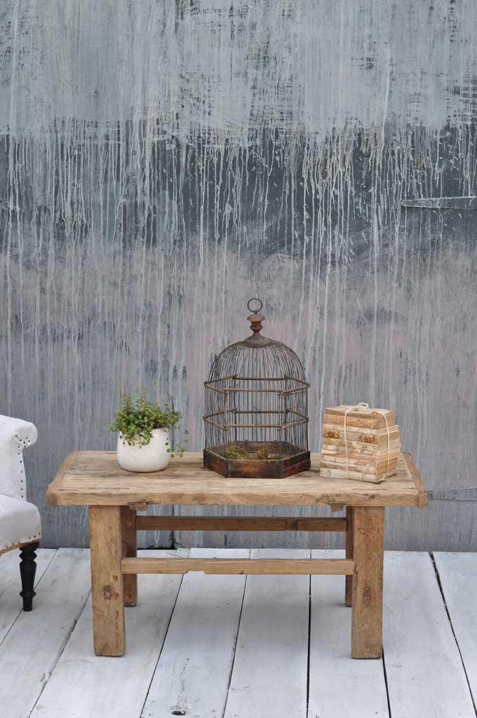 Antique Rustic Rectangular Solid Elm Coffee Table