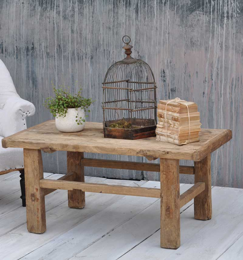 Antique Rustic Rectangular Solid Elm Coffee Table