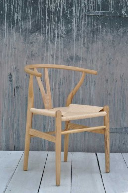 Danish Modern Oak Dining Chair With Woven Seat