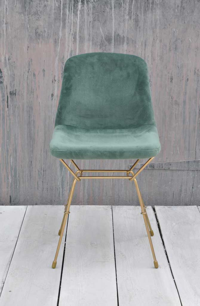 Luxury Velvet Upholstered Dining Chair Teal Green Brass Legs