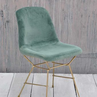 Luxury Velvet Upholstered Dining Chair Teal Green Brass Legs