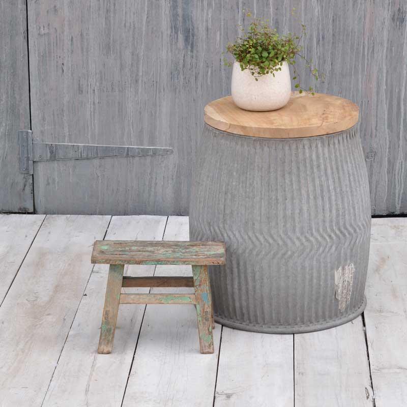 Vintage Laundry Tub Galvanised Zinc Tub Side Table With