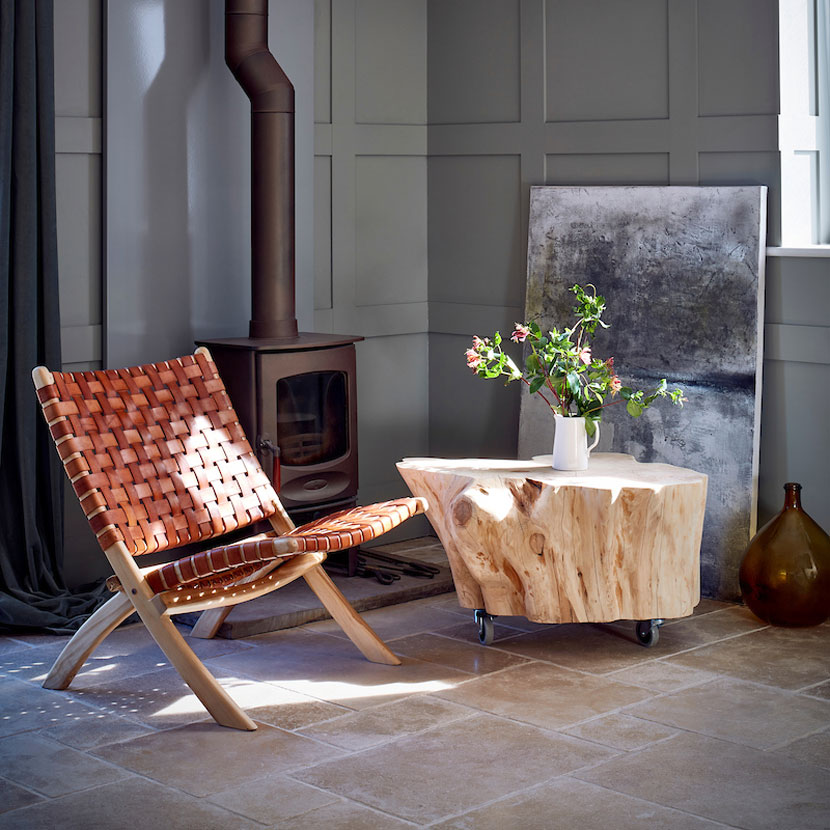 Woven Leather and Teak Folding Occasional Chair Scandinavian Design