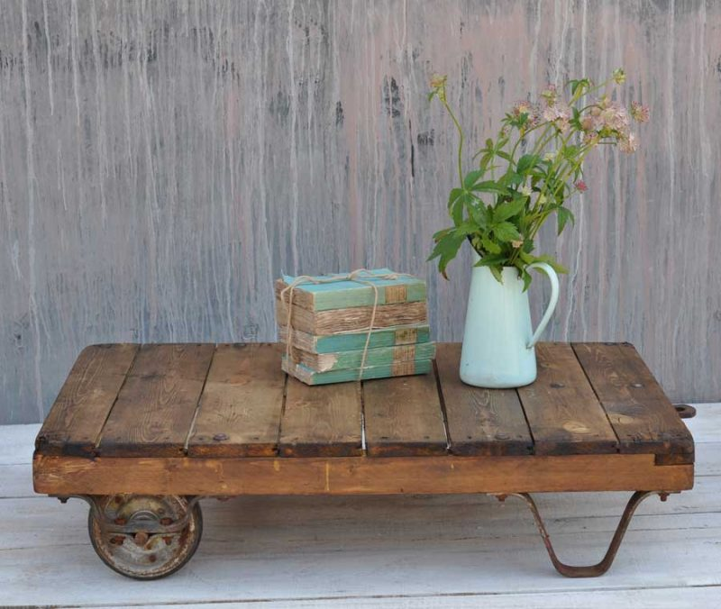 Dark Timber Small Wheeled Coffee Table Cart Industrial Vintage